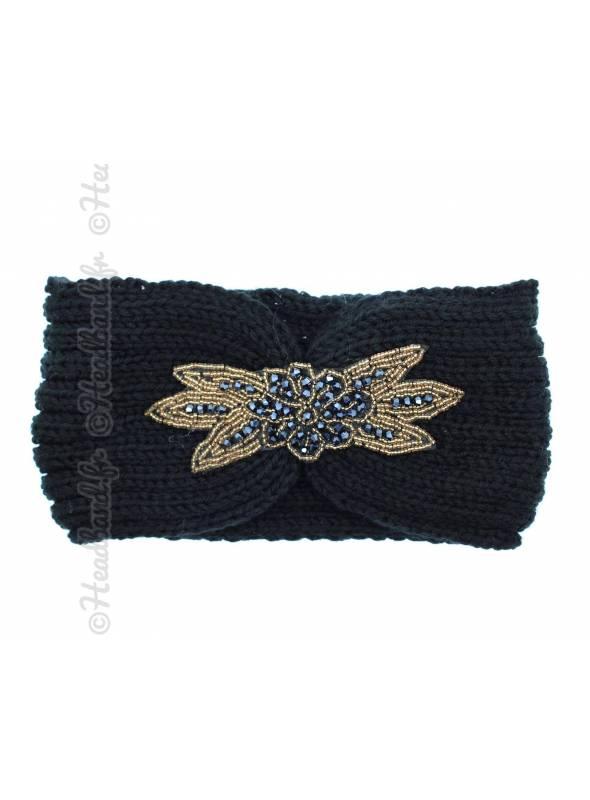 Headband tricot avec perles noir