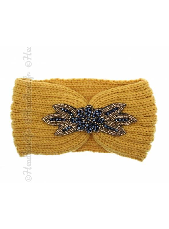 Headband tricot avec perles jaune