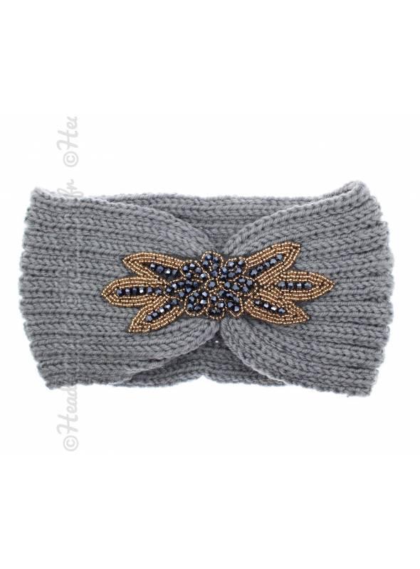 Headband tricot avec perles gris
