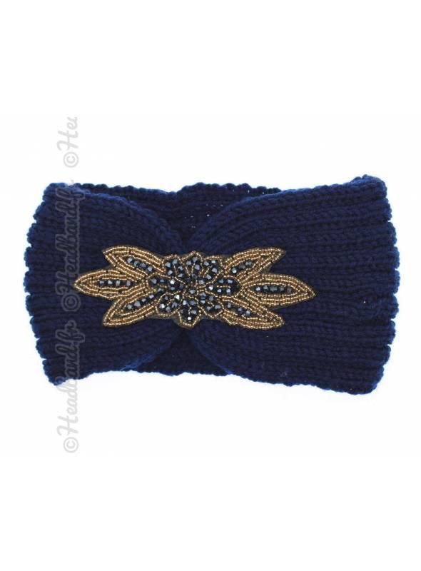 Headband tricot avec perles bleu