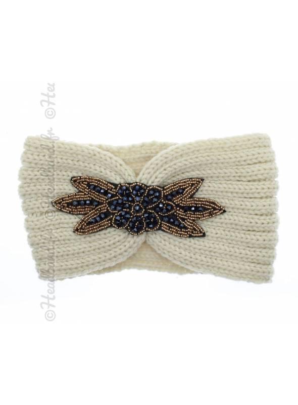 Headband tricot avec perles beige