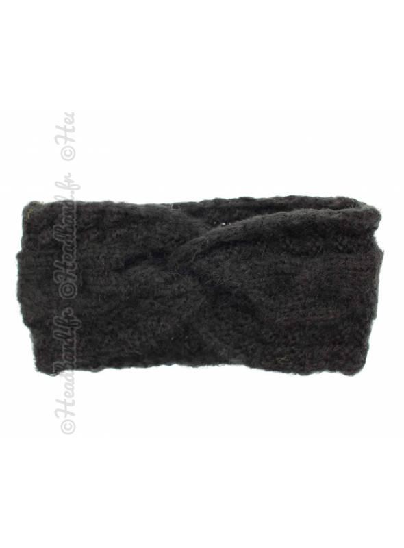 Bandeau hiver doux torsadé noir