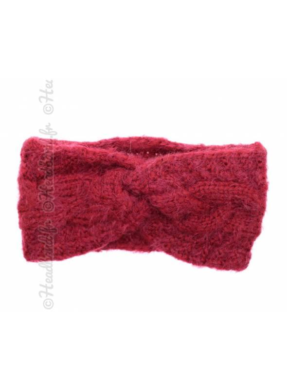 Bandeau hiver doux torsadé rouge