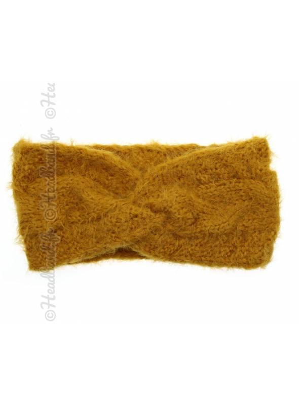 Bandeau hiver doux torsadé jaune