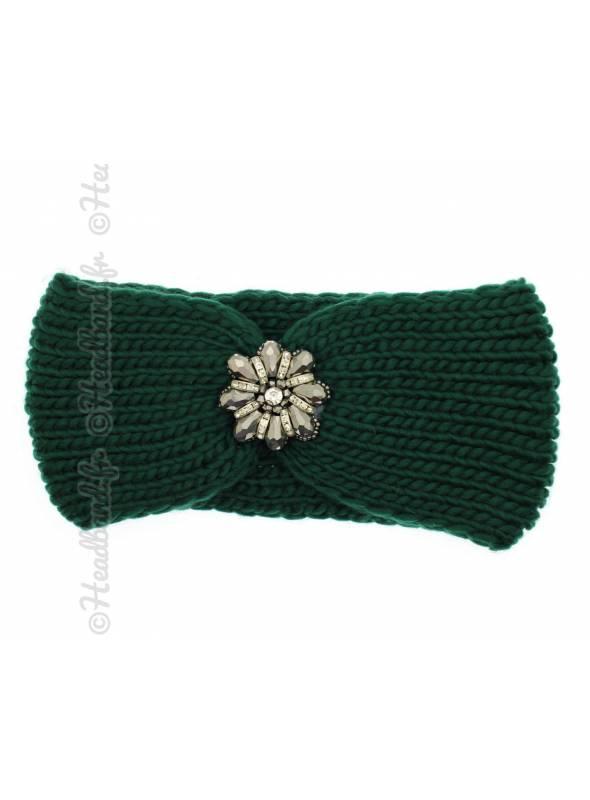Headband maille fleur perles vert