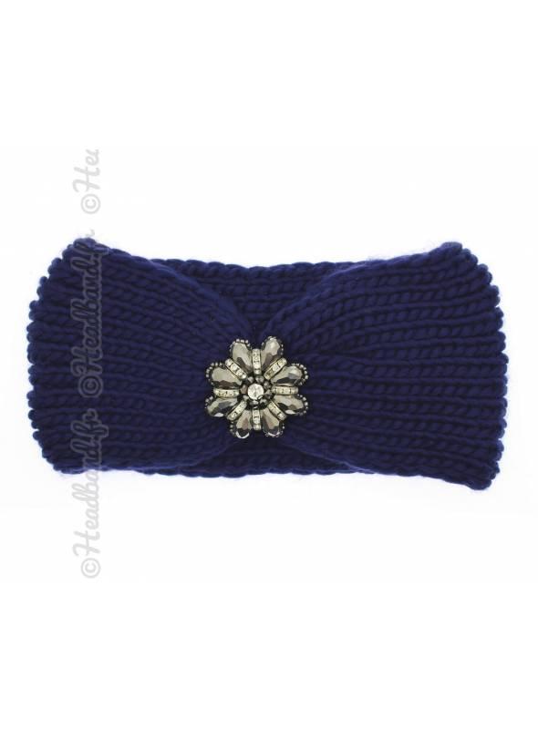 Headband maille fleur perles bleu