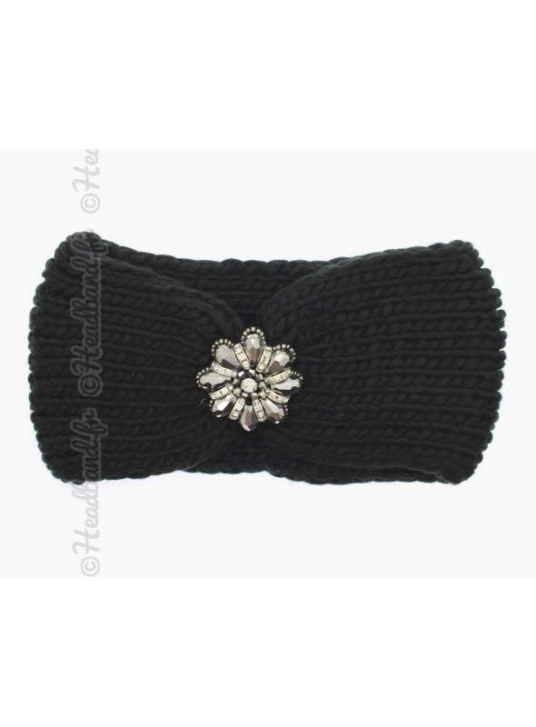 Headband maille fleur perles noir