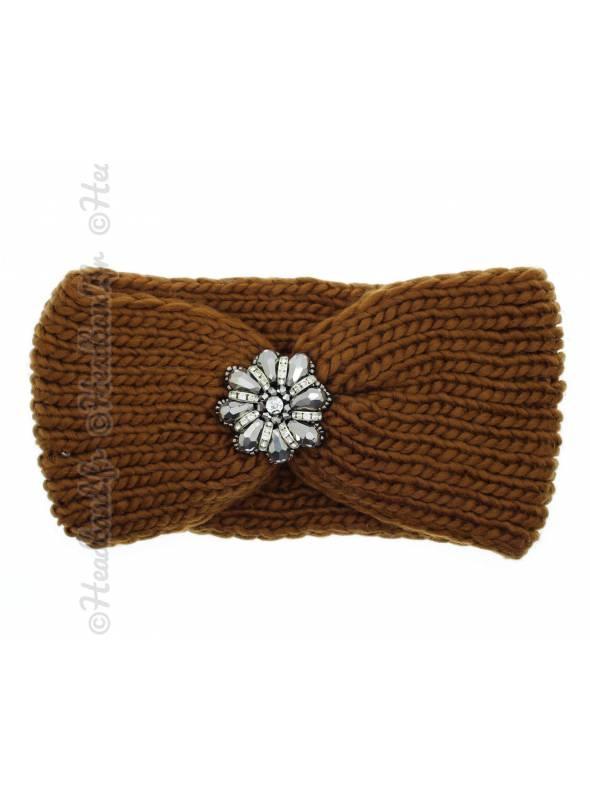 Headband maille fleur perles marron
