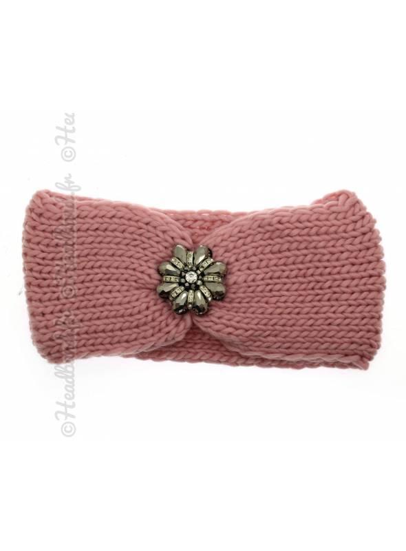 Headband maille fleur perles rose