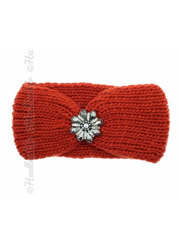 Headband maille fleur perles rouille