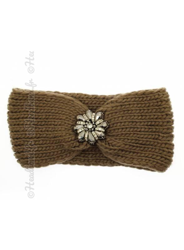 Headband maille fleur perles kaki