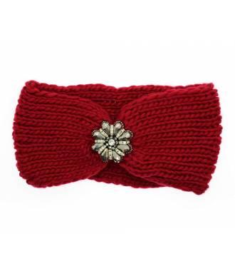 Headband maille fleur perles rouge