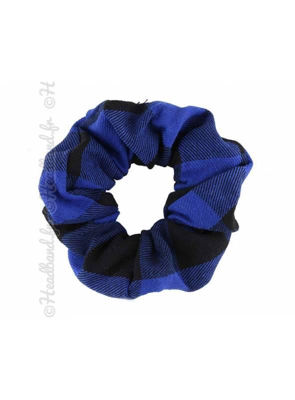 Chouchou carreaux bleu et noir
