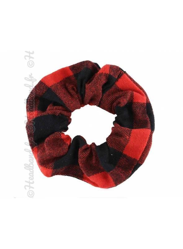 Chouchou carreaux rouge et noir