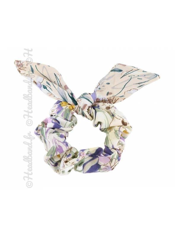Chouchou textile noeud fleur beige violet