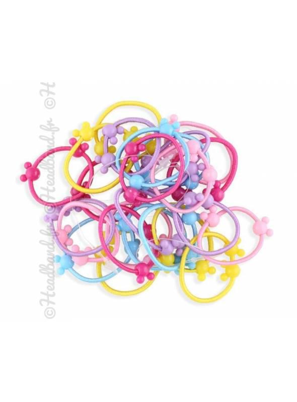 Lot de 50 élastiques filles multicolores