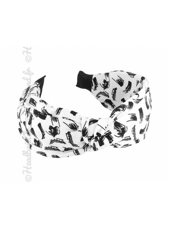 Serre-tête large pincé abstrait blanc
