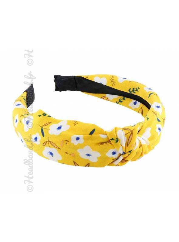 Serre-tête rétro fleurs jaune