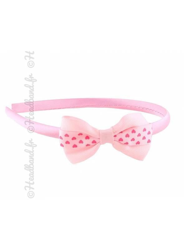 Serre-tête noeud motif coeur rose