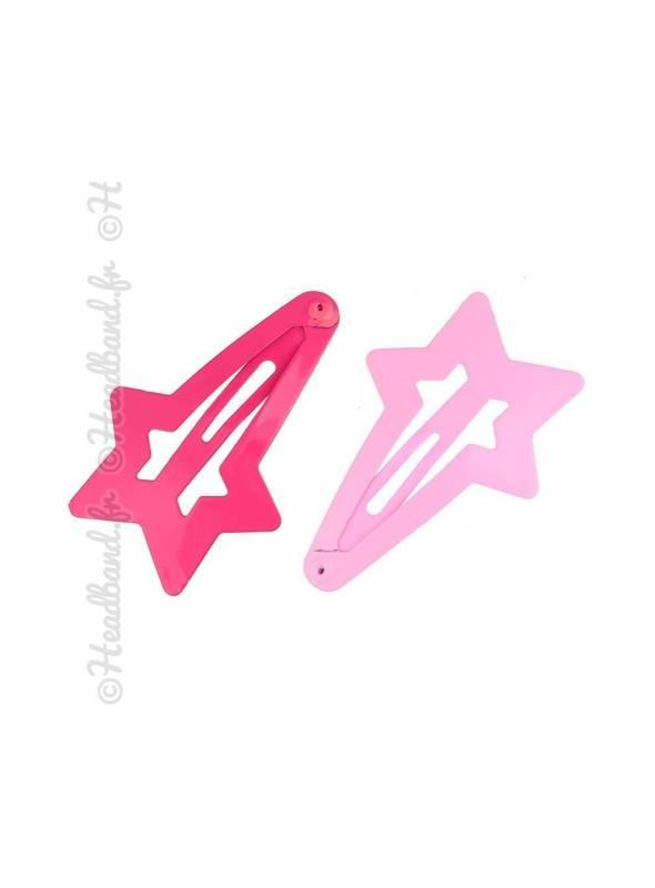 Lot de 2 pinces étoiles rose
