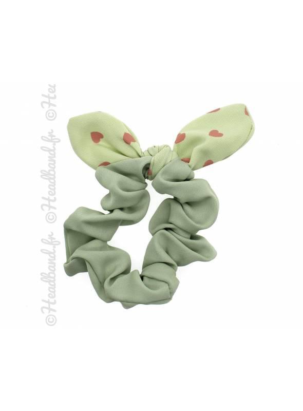 Chouchou fille noeud coeur vert