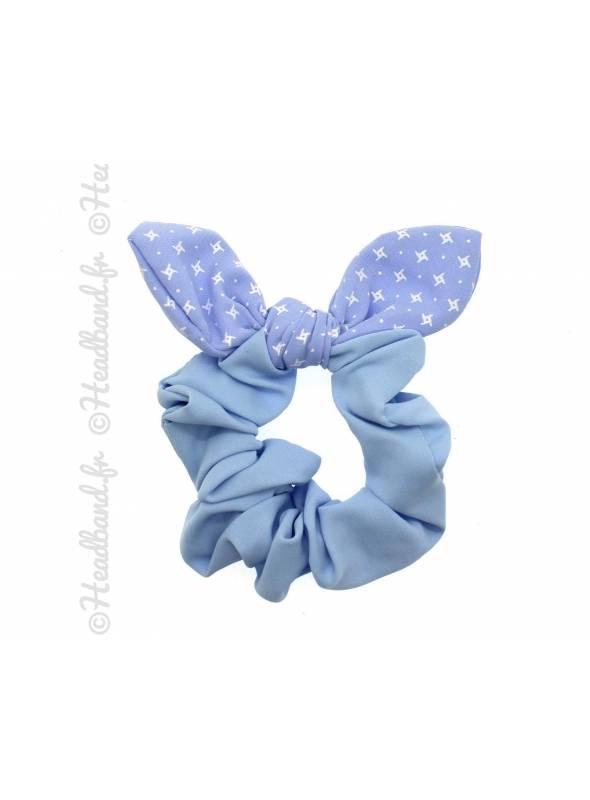 Chouchou fille noeud bleu pastel