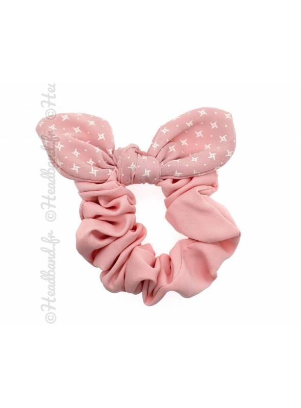 Chouchou fille noeud rose pastel