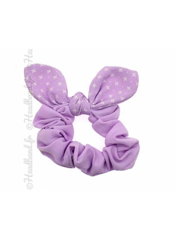Chouchou fille noeud violet pastel