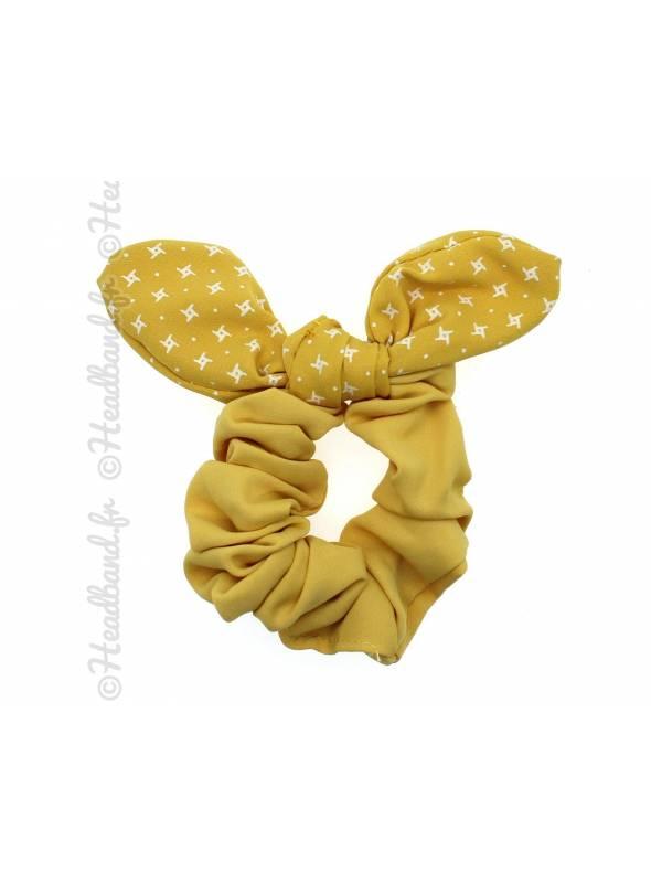 Chouchou fille noeud jaune pastel