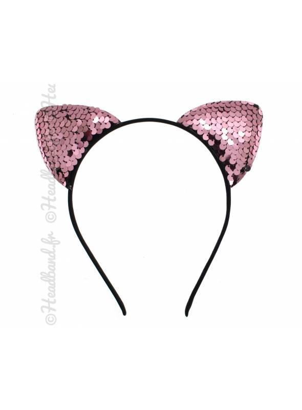 Serre-tête oreille chat strass rose