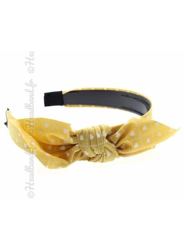 Serre-tête noeud motif coeur jaune