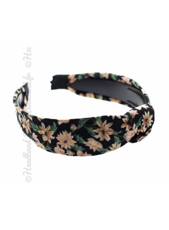 Serre-tête turban petites fleurs noir