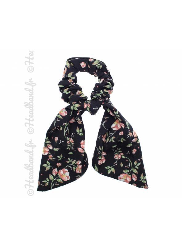 Chouchou ruban fleuri noir