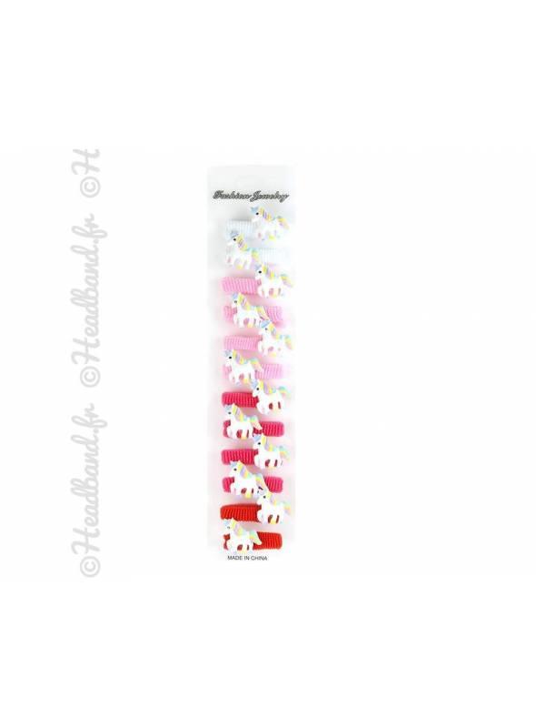 Carte de 12 élastiques licorne fille