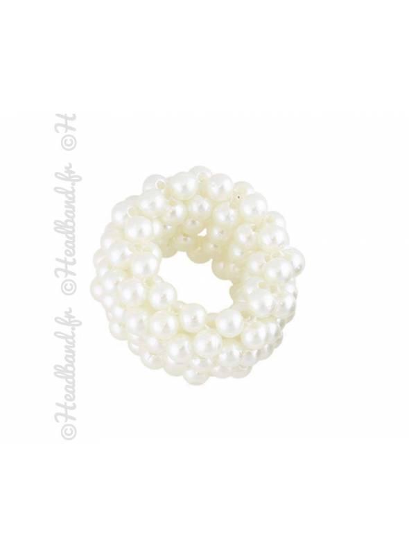 Chouchou femme perles blanc