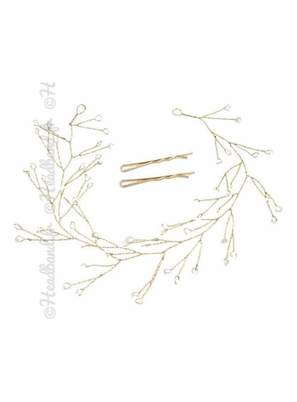 Tiare fleurs métal doré Dehlia