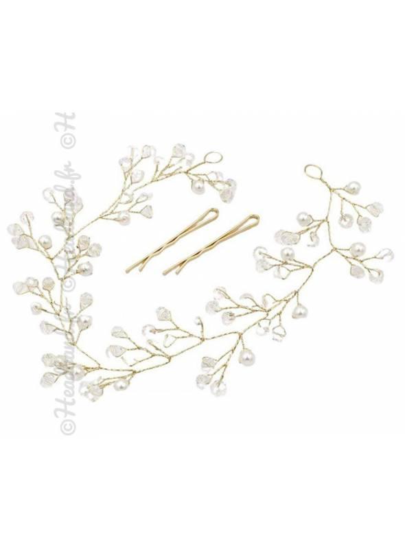 Tiare dorée perles Mélissa