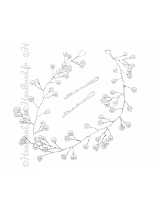 Tiare mariée cristaux argenté Océane