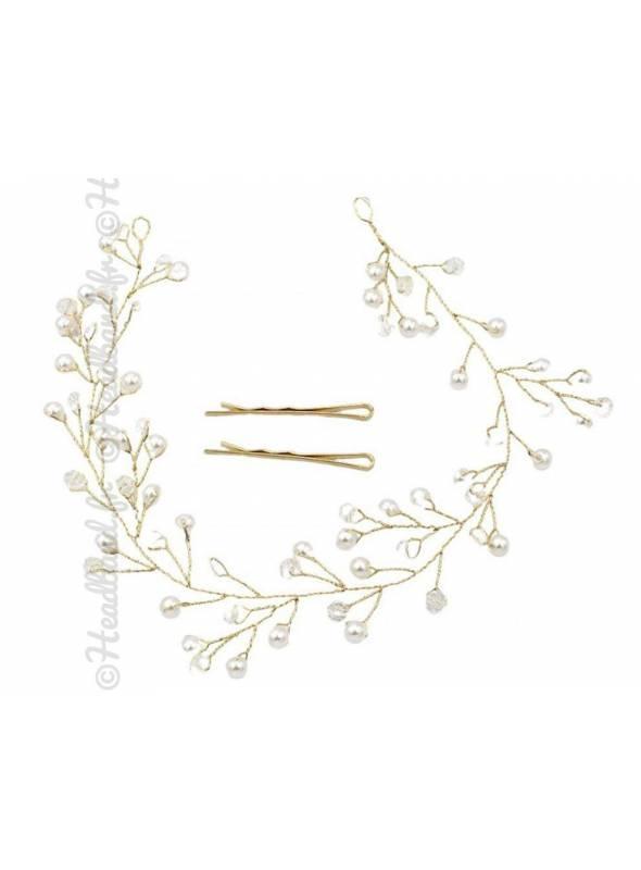 Tiare dorée mariée cristaux Charlie