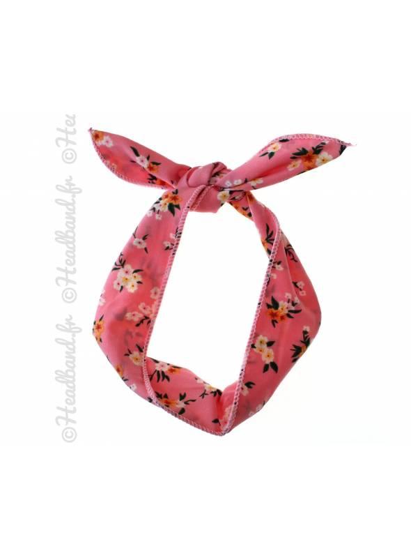 Headband fil de fer fleuri rose