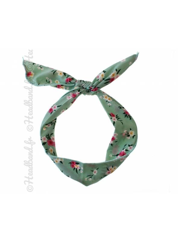 Headband fil de fer fleuri vert