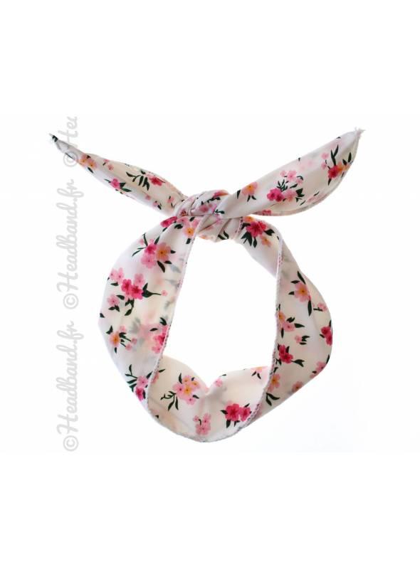 Headband fil de fer fleuri blanc
