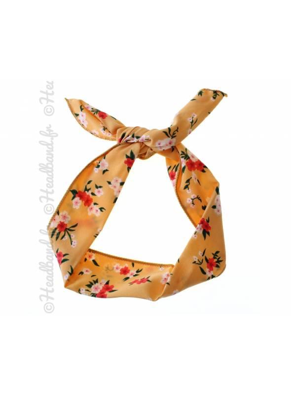 Headband fil de fer fleuri jaune