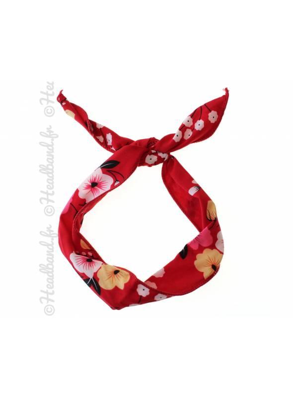Bandeau fil de fer motif fleur rouge