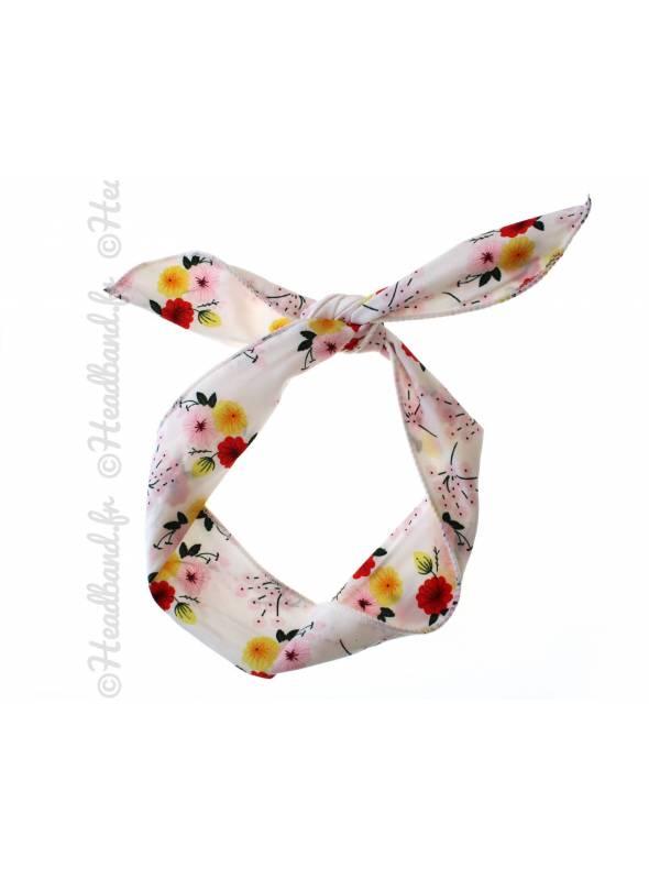 Bandeau fil de fer motif fleur blanc
