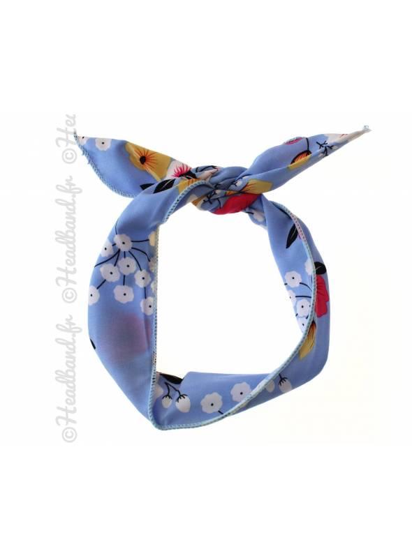 Bandeau fil de fer motif fleur bleu
