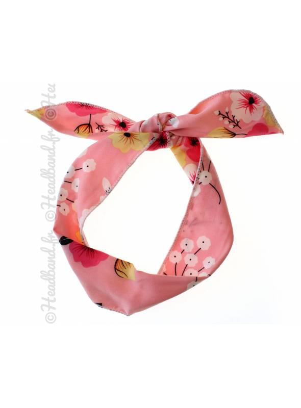 Bandeau fil de fer motif fleur rose