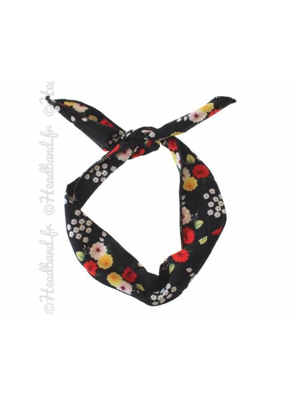 Bandeau fil de fer motif fleur noir