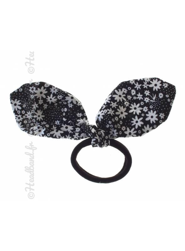 Chouchou noeud fleur bicolore noir