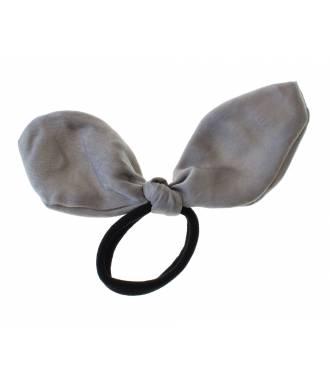 Chouchou noeud uni mousseline gris